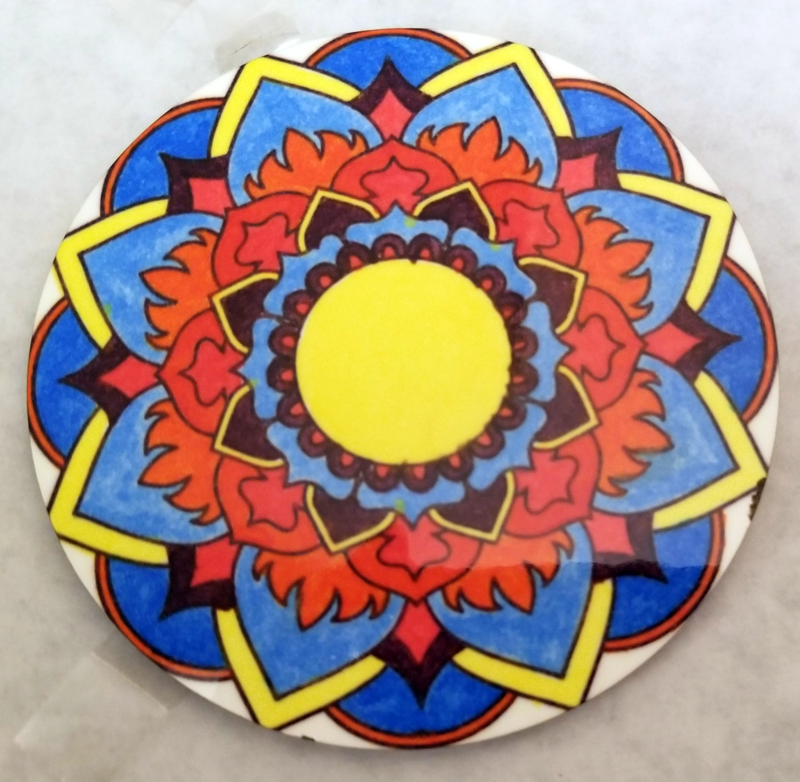 Pressed Circle Coaster of Sublimation Transfer Colored with Artesprix Permanent Thermal Transfer Markers