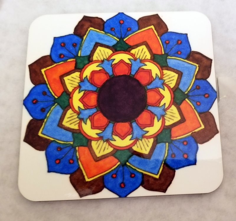 Pressed Square Coaster of Sublimation Transfer Colored with Artesprix Permanent Thermal Transfer Markers