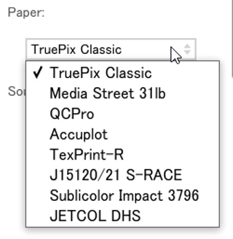 Virtuoso Print Manager Paper Options