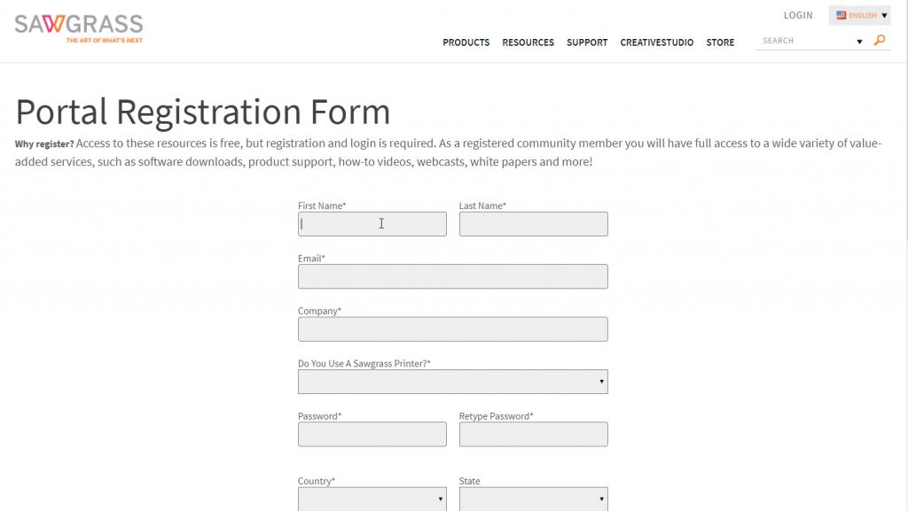 Virtuoso Print Manager Portal Registration Form